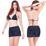 Leisure Loose Pattern Floral Design Adjustable Tie Lace Short Pants Black - Solodresses