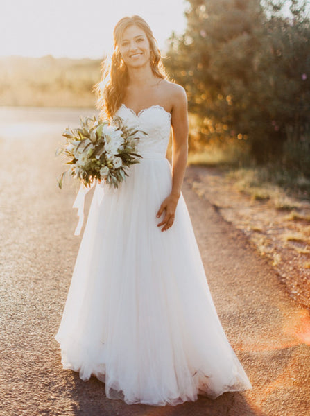 A-line Strapless Sweetheart Neck Lace Up Sweep Train Bridal Wedding Dress - Solodresses