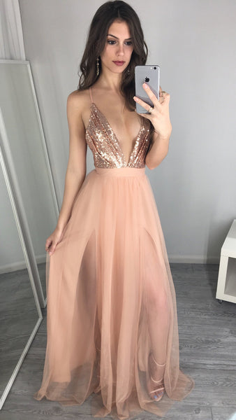 Unique v neck sequin long prom dress, Sexy Prom Dresses, Long Prom Dresses - Solodresses