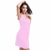 Vintage High Halter V-neck Elastic Female Beachwear Dress 11 Colors Blue - Solodresses