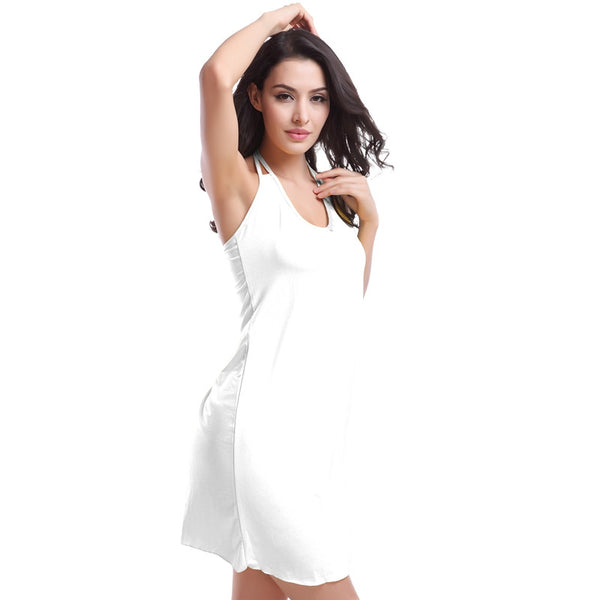 Vintage High Halter V-neck Elastic Female Beachwear Dress 11 Colors White - Solodresses