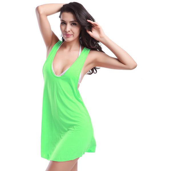 Simple 11 Colors Bikini Cover-Up Swimwear Decent Racerback Beach Dress Green - Solodresses