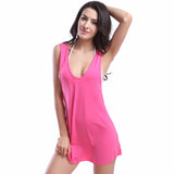 Simple 11 Colors Bikini Cover-Up Swimwear Decent Racerback Beach Dress Hot Pink - Solodresses