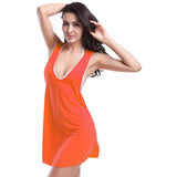 Simple 11 Colors Bikini Cover-Up Swimwear Decent Racerback Beach Dress Orange - Solodresses