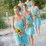 A-line Sweetheart Neck Strapless Sleeveless Ruched Embellished Mini Length Aqua Chiffon Short Bridesmaid Dresses,Summer Wedding Party Dresses - Solodresses