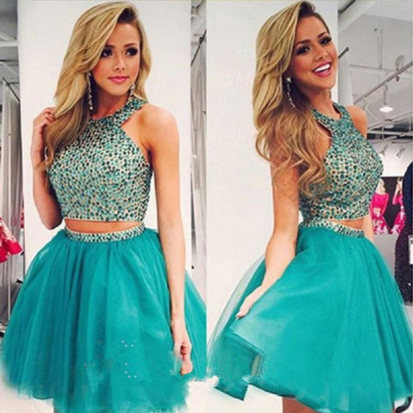Two Pieces Dark Green Tulle with Rhinestone Beaded Homecoming Dresses,Hot 72 - Solodresses