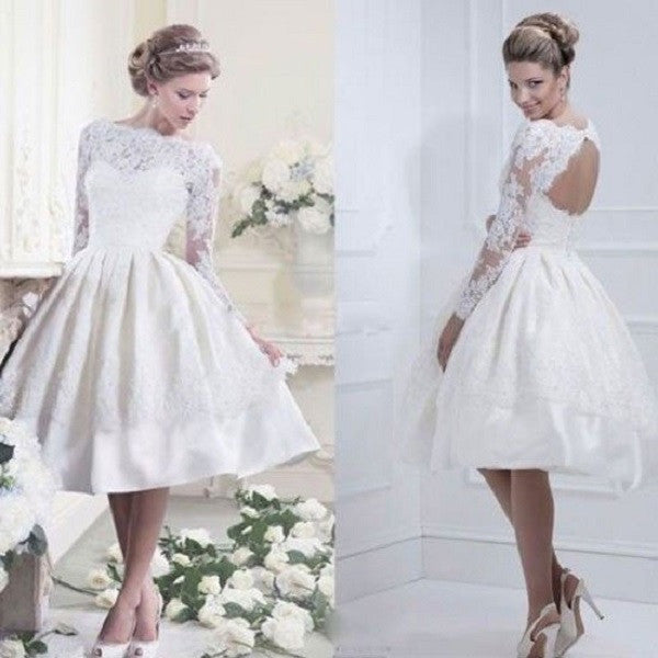 A-line Satin and Lace Beaded Sabrina Neck Long Sleeves Short Wedding Dress Short Ball Gown - Solodresses