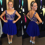 Royal Blue Homecoming Dresses,Sleeveless Lace Skirt,Short Appliqued Tulle Prom Gowns,Hot14 - Solodresses