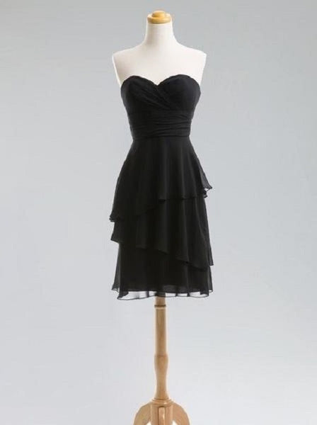 A-line Ruched Embellished Strapless Sweetheart Neck Sleeveless Mini-length Chiffon Little Black Dresses,Short Bridesmaid Dresses - Solodresses