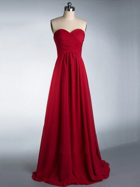 A-line Sweetheart Neck Sleeveless Strapless Ruched Embellished Floor-length Burgundy Chiffon Bridesmaid Dresses - Solodresses