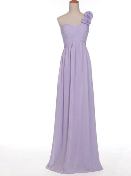 A-line One Shoulder Neck Sleeveless Ruched Embellished Empire Waist Floor-length Lilac Chiffon Bridesmaid Dresses - Solodresses