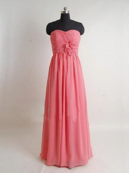 A-line Sweetheart Neck Strapless Sleeveless Floor-length Coral Chiffon Wedding Party Bridesmaid Dresses,Long Bridesmaid Gowns - Solodresses
