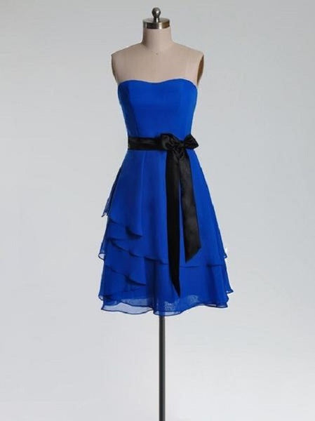 A-line Bow Embellished Strapless Sleeveless Knee-length Royal Blue Chiffon with Black Sash Short Bridesmaid Dresses,Bridesmaid Gown - Solodresses