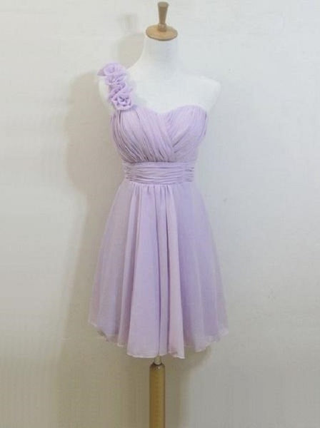 A-line Flowers Embellished One Shoulder Neck Mini Length Lilac Tulle Short Bridesmaid Dresses,Wedding Party Gowns - Solodresses