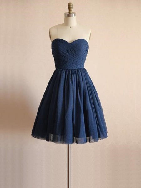A-line Sweetheart Neck Sleeveless Strapless Mini Length Navy Tulle Short Bridesmaid Dresses,Wedding Party Dresses - Solodresses