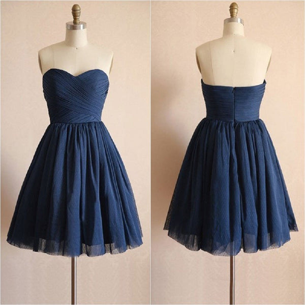 Short Strapless Homecoming Dresses,Navy Tulle Wedding & Party Dresses,Hot 31 - Solodresses
