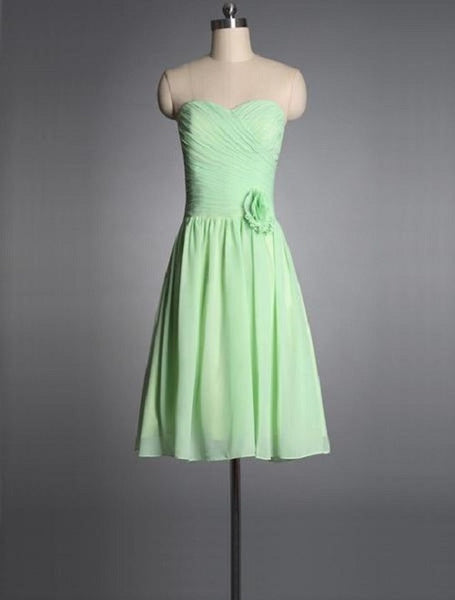 03fa2f438dfd A-line Sweetheart Neck Strapless Sleeveless Ruched Embellished Knee-length  Sage Chiffon Short Bridesmaid