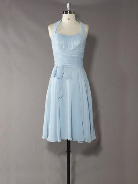 A-line Halter Bow Embellished Sleeveless Knee-length Light Sky Blue Chiffon Bridesmaid Dresses,Wedding Party Dress - Solodresses