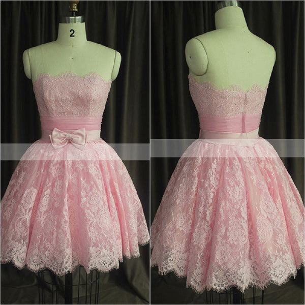 Short Pink Prom Dresses,Strapless Lace Homecoming Dresses,Hot59 - Solodresses