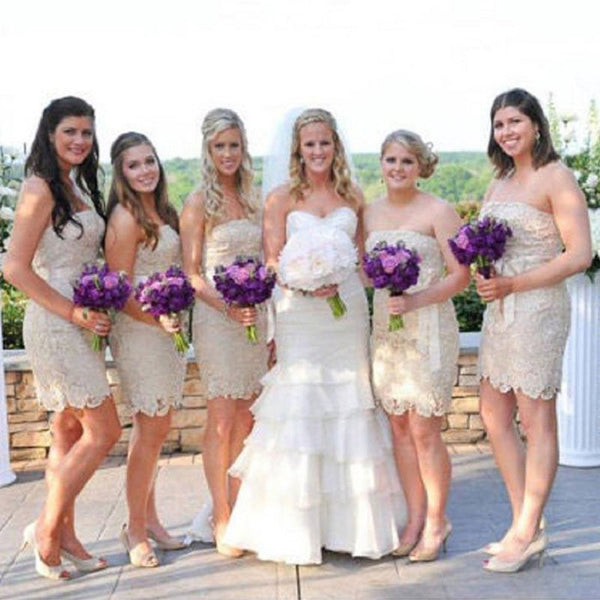 Bow Embellished Strapless Sleeveless Mini Length Lace Bridesmaid Dresses,Short Wedding Party Sheath - Solodresses