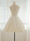 A-line Bowknot Embellished Illusion Neck Sleeveless Mini length Ivory Lace and Taffeta Short Wedding Dress,Little White Dress - Solodresses