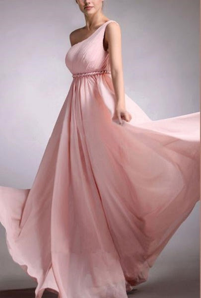 A-line One Shoulder Sleeveless Ruched Embellished Floor-length Pink Chiffon Long Bridesmaid Gowns - Solodresses