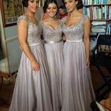 A-line Sweetheart Neck Cap Sleeves Lace Appliqued Beaded Floor-length Gray Chiffon Bridesmaid Dresses - Solodresses