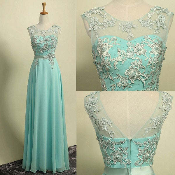 A-line Illusion Neck Sleeveless Appliqued Floor Length Aqua Chiffon Long Bridesmaid Dresses,Prom Dresses - Solodresses