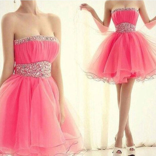 A-line Strapless Fuchsia Tulle Beaded Mini Length  Homecoming Dresses,Hot 48 - Solodresses