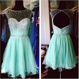 A-line Illusion Neck Mint Tulle Beaded Backless Homecoming Dresses,Hot 50 - Solodresses