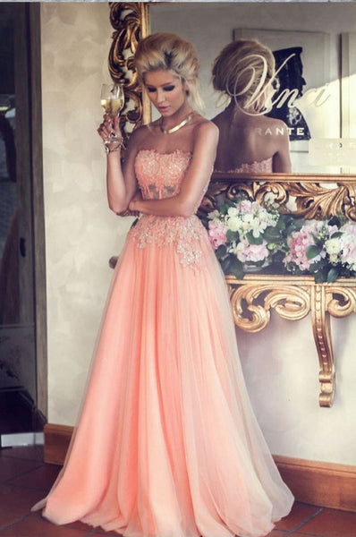 A-line Sweetheart Neck Strapless Sleeveless Beaded Lace Appliqued Floor-length Blush Pink Prom Dresses - Solodresses