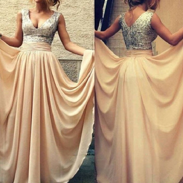 A-line V-neck Sleeveless Silver Sequins Bodice Floor-length Chiffon Long Bridesmaid Dresses - Solodresses