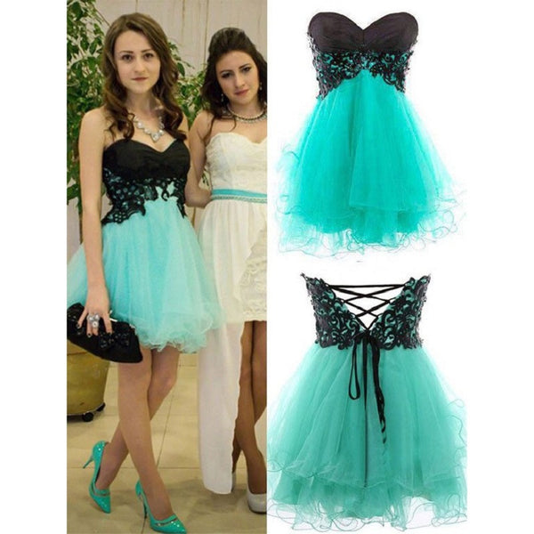 Strapless Sweetheart Black and Mint Homecoming Dresses,Hot 17 - Solodresses