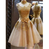 Appliqued Gold Homecoming Dresses,High Neck Lace Dresses,Short Party Dress,Hot 28 - Solodresses