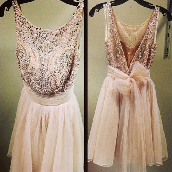Shinny Homecoming Dresses,Elegant Beaded Dresses,Short Nude Tulle Dresses,Hot 40 - Solodresses