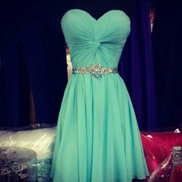 Simple Elegant Sweetheart Neck Strapless Mint Chiffon Homecoming Dresses,Hot 41 - Solodresses
