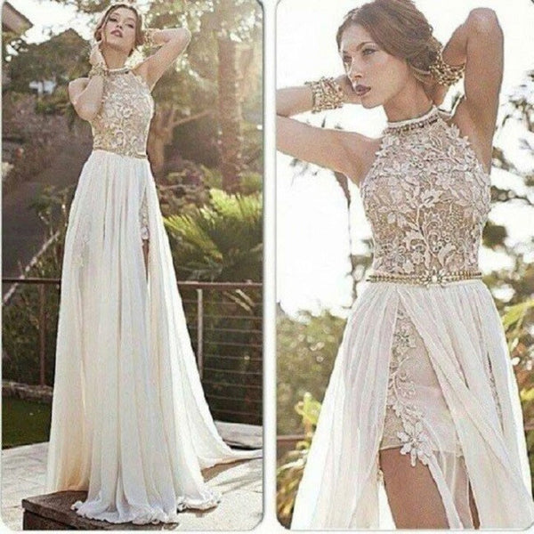 Elegant A-line Halter High Neck Floor-length Lace Ivory Wedding Dress Chiffon Prom Dress - Solodresses