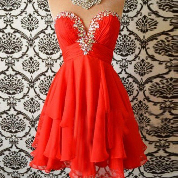Strapless Chiffon Homecoming Dress,Elegant Red Dress,Hot 60 - Solodresses