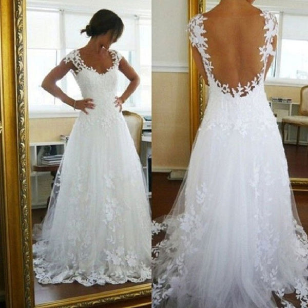 Elegant A-line Backless Sweetheart Neck Cap Sleeves Lace Appliqued White Tulle Wedding Dress - Solodresses