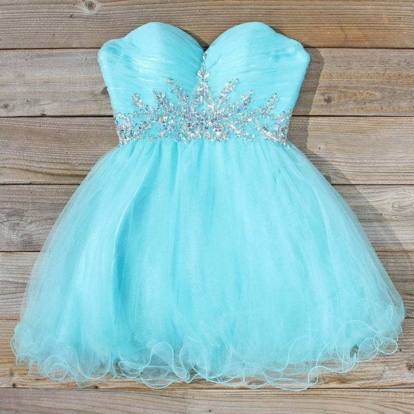 A-line Strapless Sweetheart Neck Beaded Aqua Tulle Ball Gown Homecoming Dresses,Hot 25 - Solodresses