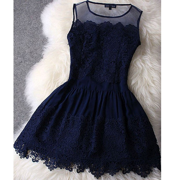 Vintage A-line Illusion Neck Lace Appliqued Mini length Navy Homecoming Dresses,Hot 34 - Solodresses
