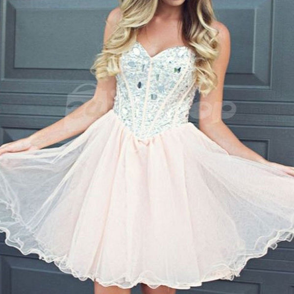 Sweetheart Neck Strapless Beaded Bodice Tulle Homecoming Dresses,Hot 35 - Solodresses