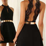Graceful Halter Little Black Dresses with Gold Sash Homecoming Dresses,Hot 40 - Solodresses