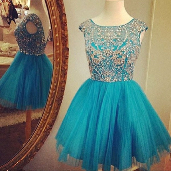 Shining Beaded Elegant Bateau Neck Tulle Homecoming Dresses,apd1543 - Solodresses