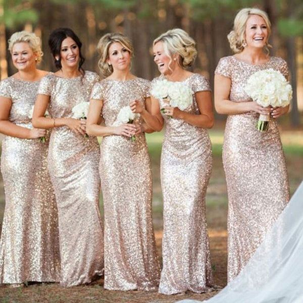 Shining Mermaid Sabrina Neck Backless Short Sleeves Floor-length Gold Long Bridesmaid Gowns - Solodresses