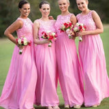 A-line Scoop Neck Sleeveless Lace Bodice Floor-length Peach Chiffon Dress,Long Bridesmaid Dresses - Solodresses