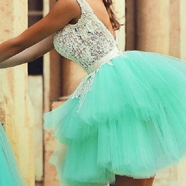 Backless Mint Tulle & Ivory Lace Ball Gown Homecoming Dresses,Short Prom Dresses,Hot 58 - Solodresses