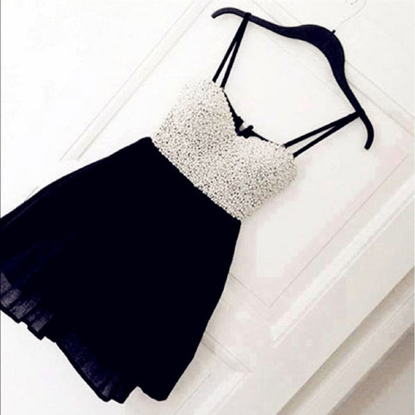 Simple Little Black Dresses,Spaghetti Strap Drop Pearl Beaded Black & White Matching Chiffon Homecoming Dresses,Hot 60 - Solodresses