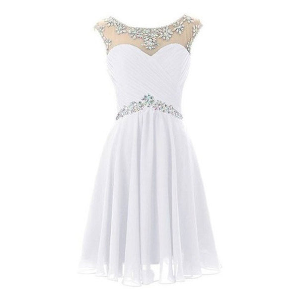 2016 Illusion Neck Rhinestone Beaded White Chiffon Homecoming Dresses,Hot 62 - Solodresses