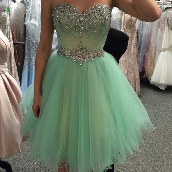 Sweetheart Neck Strapless Beaded Mint A-line Homecoming Dresses,Hot 65 - Solodresses